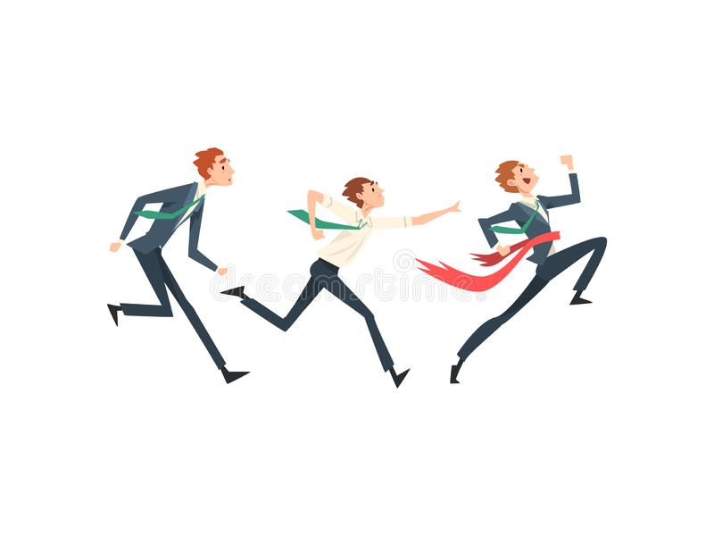 Business People Running To Finish Line, Team Leader Business Competition, Businessmen Competing Among Themselves royalty free illustration