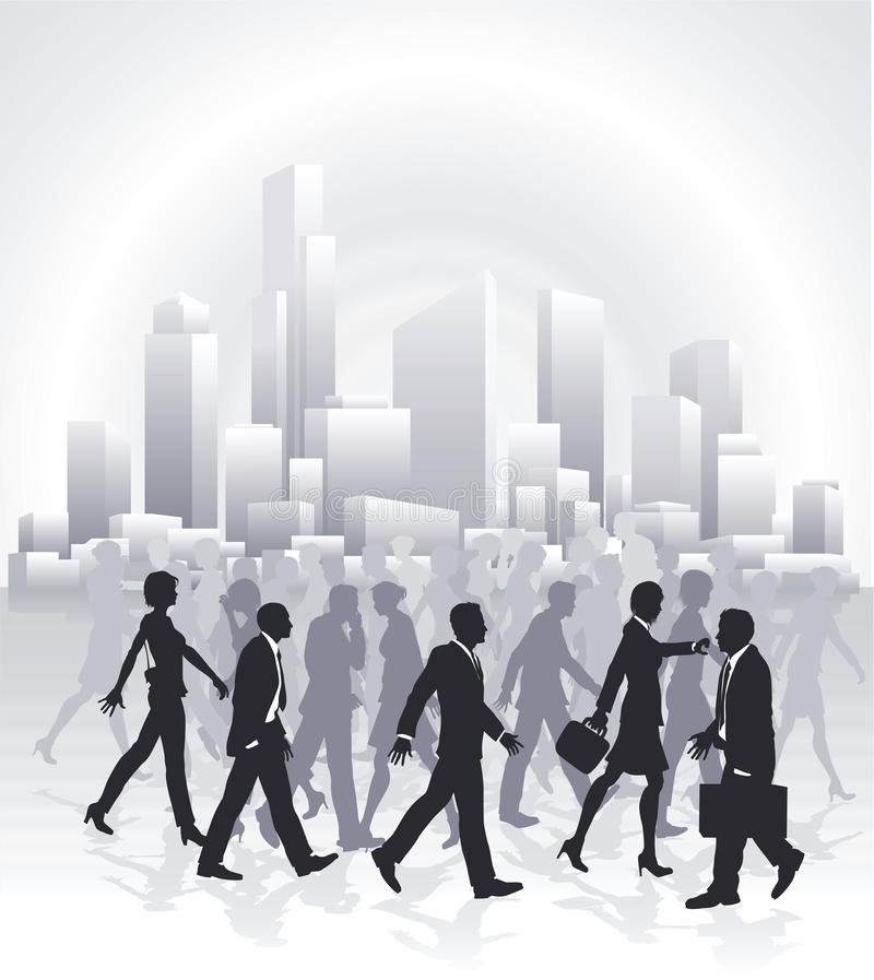 Free Business People Rushing In Front Of City Skyline Stock Images - 18813894