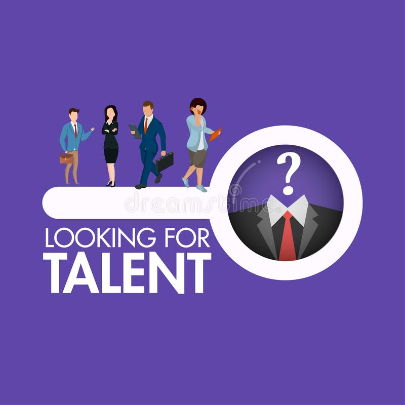 Business people`s character searching looking a talent person for Job vacancy concept. Can be used as poster or template design royalty free illustration