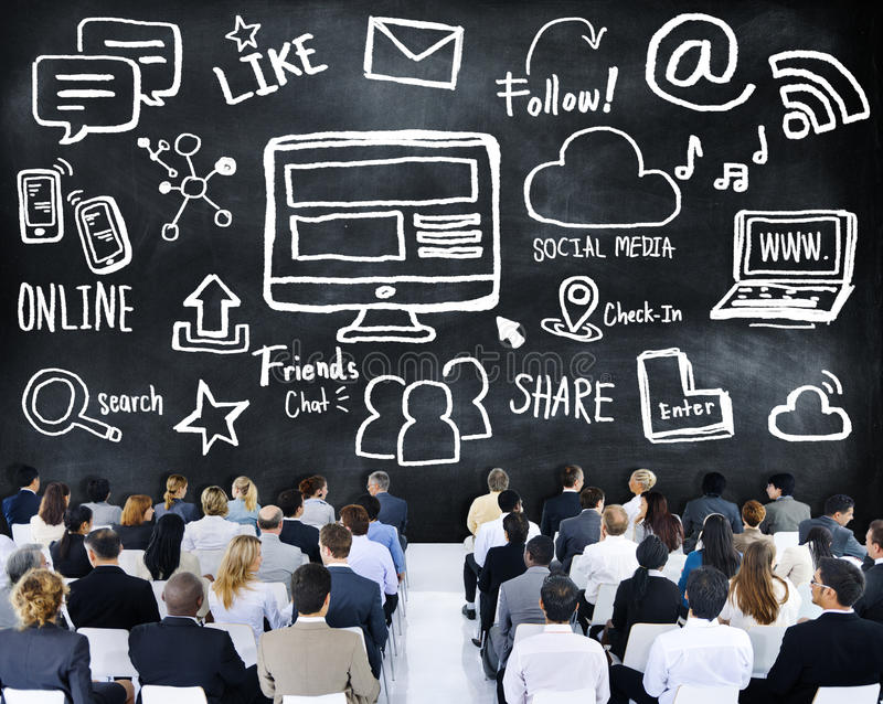 Business People Seminar Global Communications Social Media Concept stock image