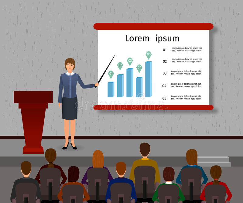 Business people seminar. Group office employee and speaker with podium on a management, finance, teamwork training. Flat vector illustration stock illustration