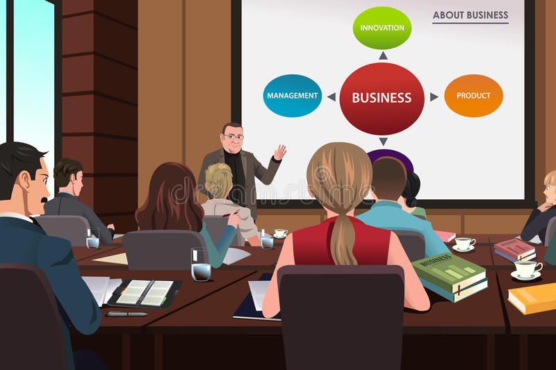 Business people in a seminar stock illustration