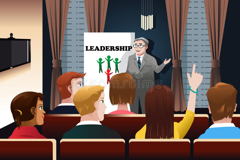Business people in a seminar royalty free illustration