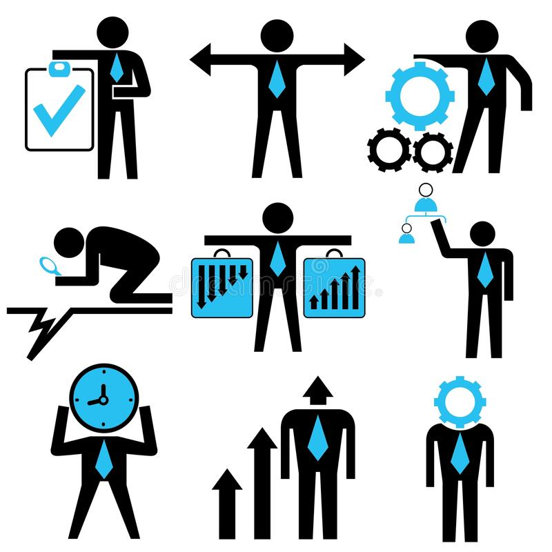 Business people. Set of 9 business people with business management concept stock illustration
