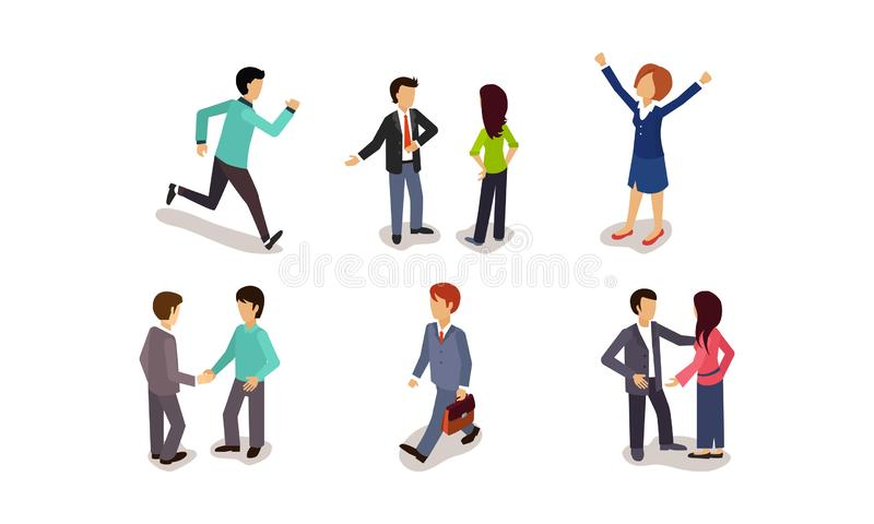 Business people set, men and women rushing to work, rejoicing success, communicating, meeting with colleagues vector. Business people set, men and women rushing vector illustration