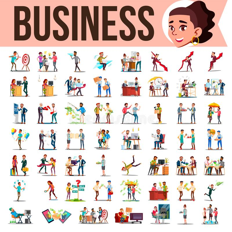 Business People Set Vector. Office Lifestyle Situations. Modern Company Workers. Colleagues Working And Communicating. Business People Set Vector. Meeting royalty free illustration