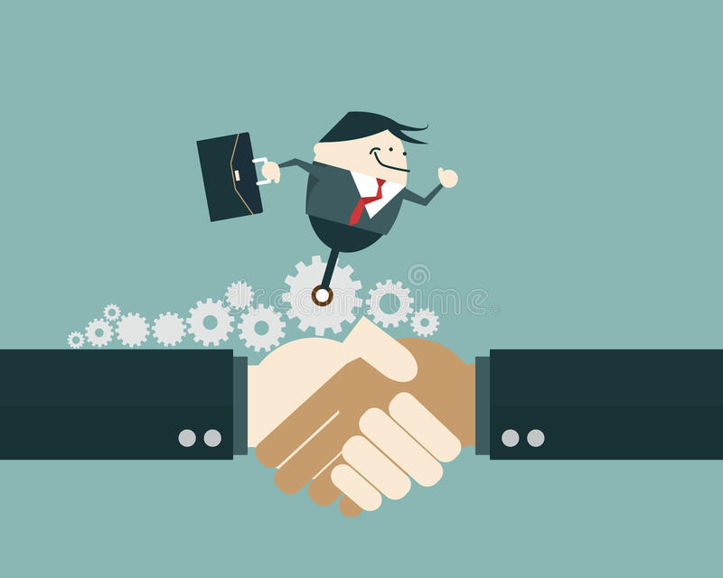 Business people shaking hands and business man ride on gear wheel. Vector illustration business solution concept royalty free illustration