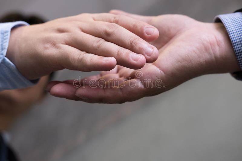 Business people shaking hands after finishing up a meeting. Businessman handshaking after conference. teamwork, partnership, coll. Business people shaking hands royalty free stock photo