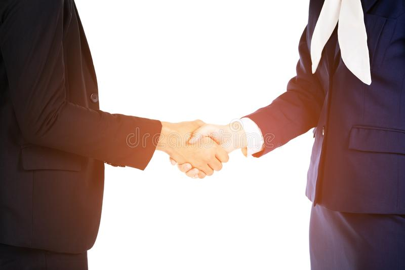 Business people shaking hands, finishing up a meeting royalty free stock photography