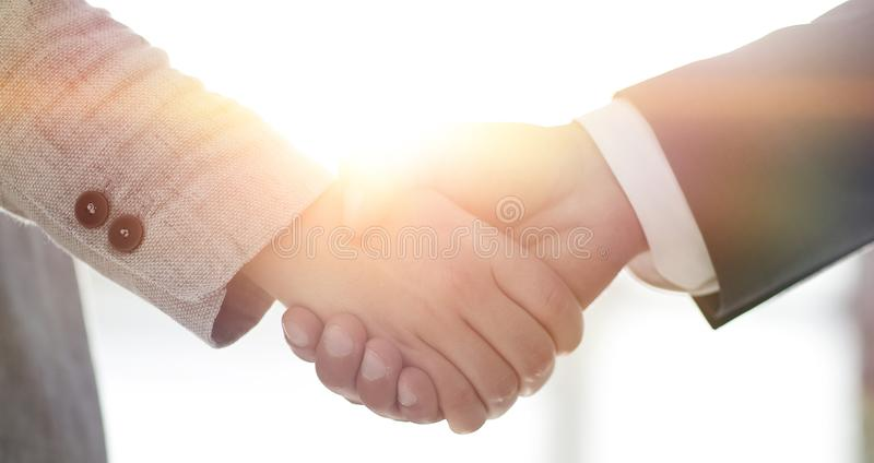 Business people shaking hands isolated on white background. Business people handshake in modern office. Greeting deal concept royalty free stock images