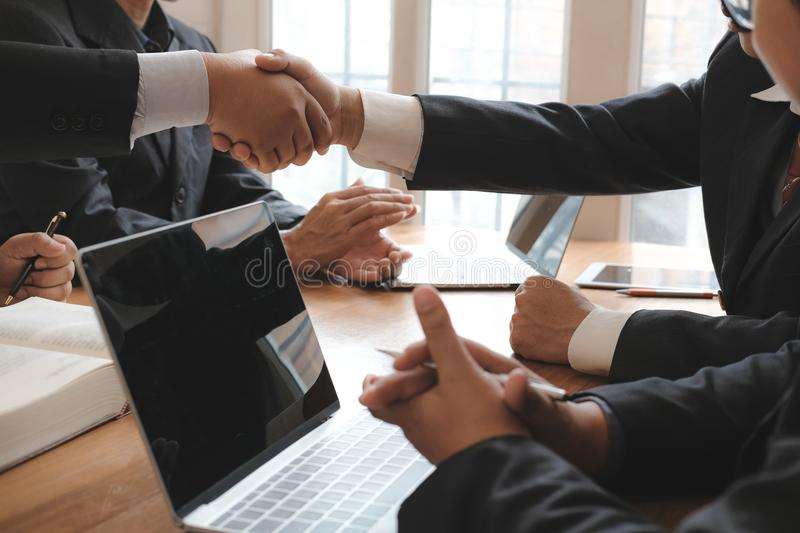 Business people shaking hands after meeting. colleagues handshaking after conference. Greeting deal, teamwork, partnership. Cooperate concept stock photos