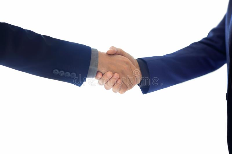 Business people shaking hands on white backround stock photos