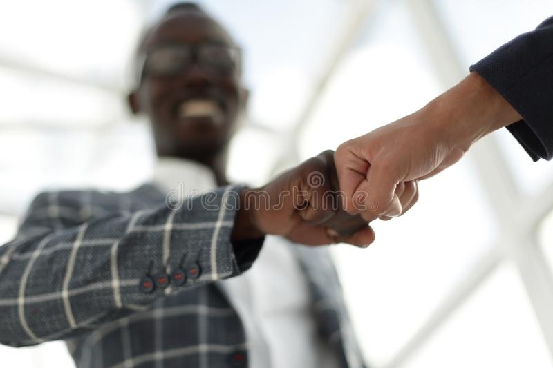 Business people showing Fist Bump after meeting royalty free stock photography