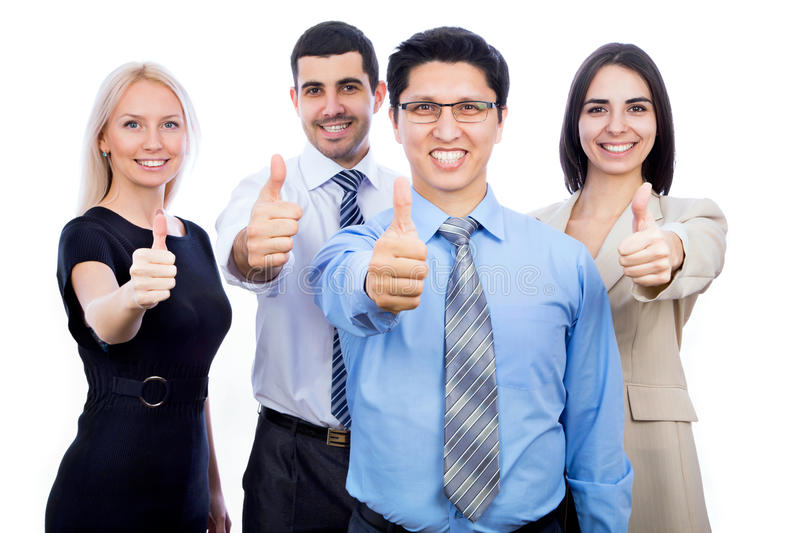 Business people showing thumbs up sign royalty free stock photography