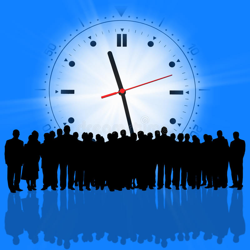 Business people silhouette. Several clocks background and business people silhouette royalty free stock images