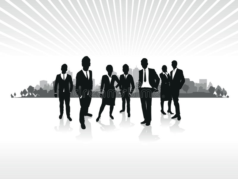 Business people cityscape. Business people silhouette on a cityscape background royalty free illustration