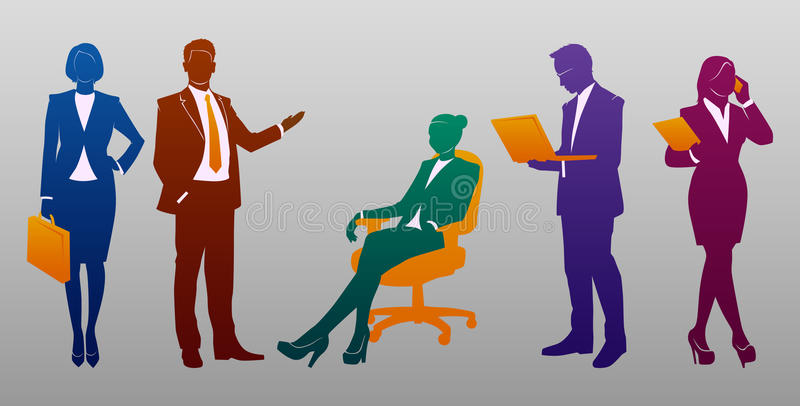 Business People Silhouette Set royalty free illustration
