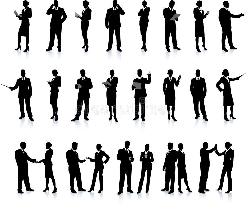 Business People Silhouette Super Set vector illustration