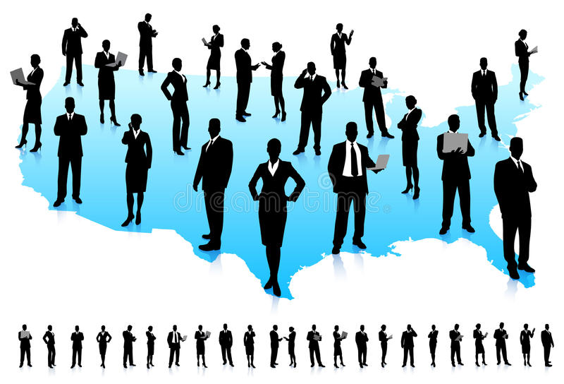 Business People Silhouette On United States Map Royalty Free Stock - Us map silhouette