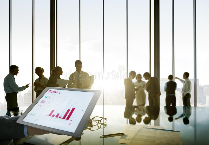 Business People Silhouette Working Statistics Development Performance Success royalty free stock image