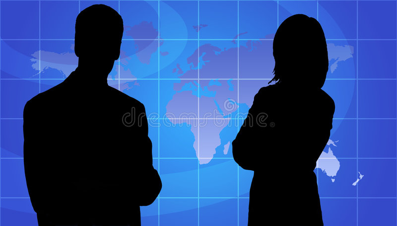 Business People Silhouette, World Map Background. Business Woman And Man Silhouette In Front Of World Map Background royalty free illustration