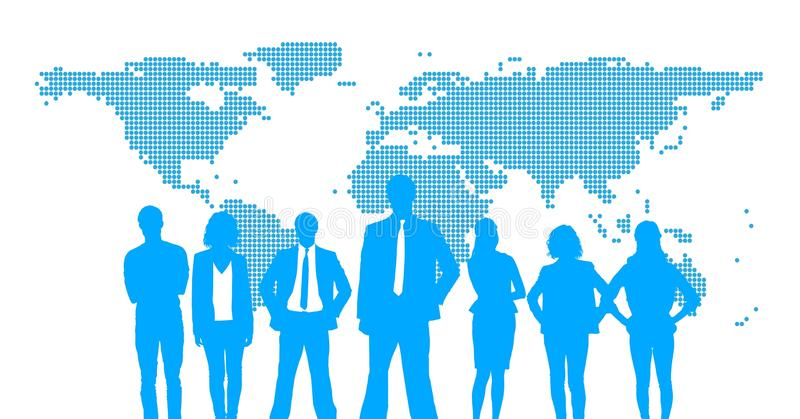 Business people silhouettes against white wall with world map stock illustration