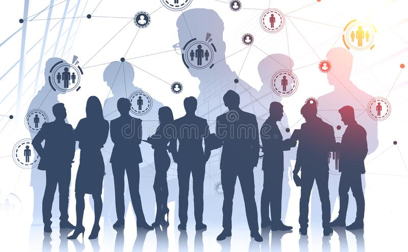 Business people silhouettes in city, HR interface. Silhouettes of diverse business people working together in abstract city with double exposure of HUD social royalty free stock photo