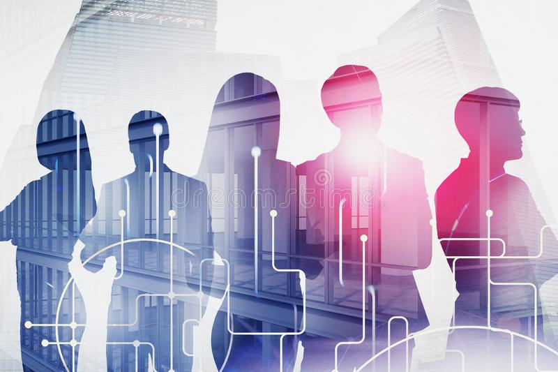 Business people silhouettes and network stock photography