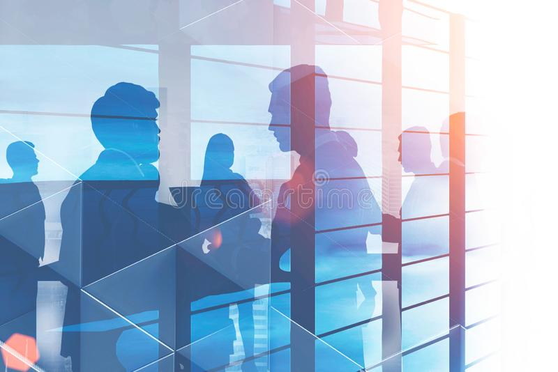 Business people silhouettes, skyscraper royalty free stock photos