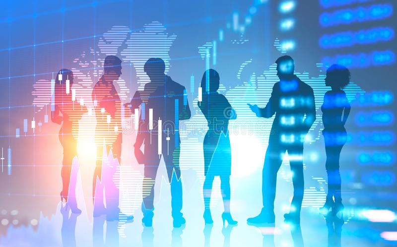 Business people silhouettes in world, diagrams. Silhouettes of diverse business team members working together over world map background. Graph in the foreground royalty free stock photography
