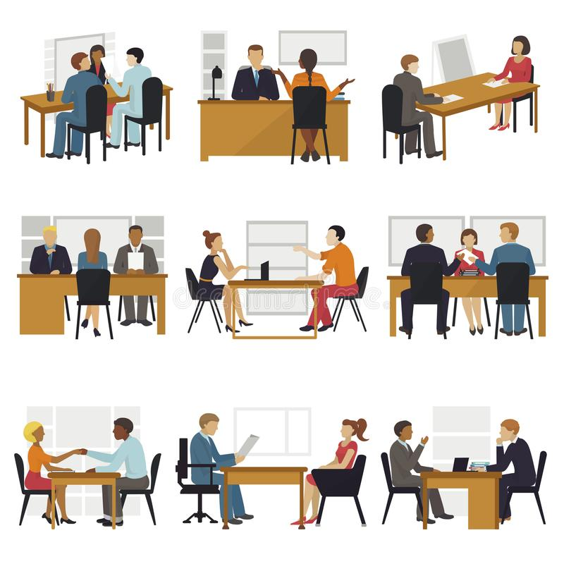Business people sitting room long time amusing meeting candidates characters await in queue for job search interview vector illustration