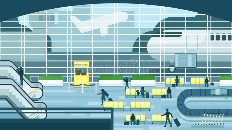 Business people sitting and walking in airport terminal, business travel concept. Flat design vector illustration. stock illustration
