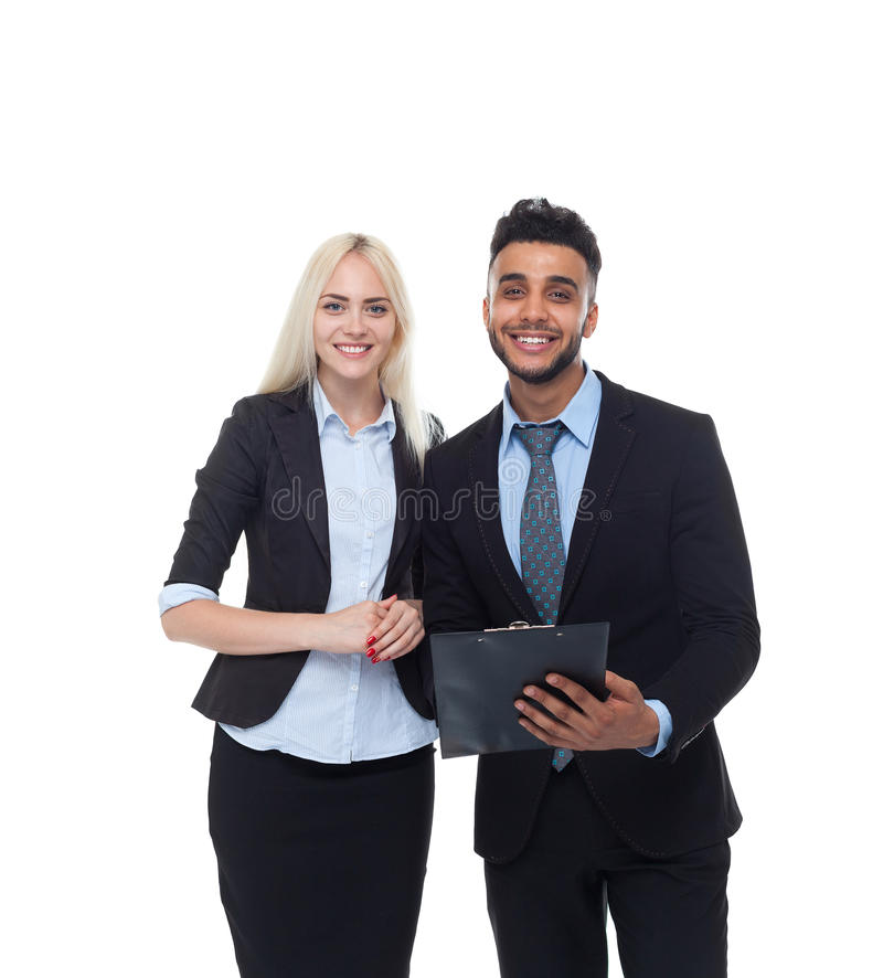 Business People Smile, Hold Folder Businessman And Businesswoman Wear Formal Suit royalty free stock images