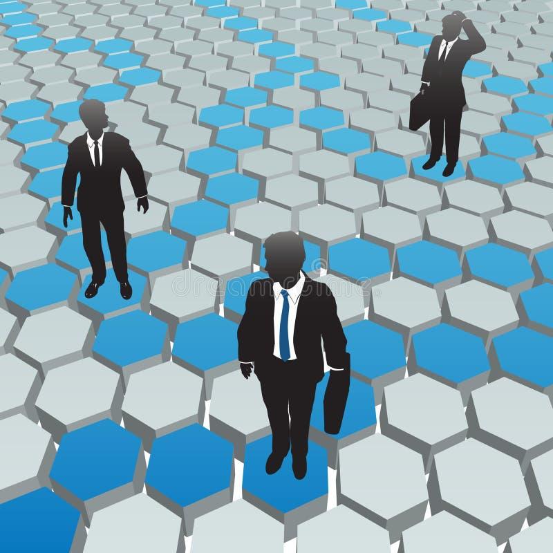 Business people social media hexagon network. Business people find solutions in a social media hexagon network vector illustration