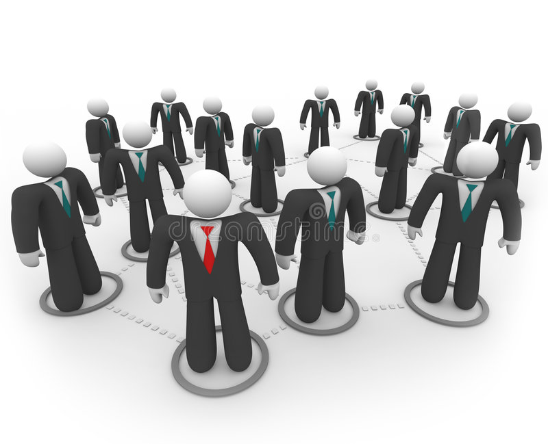 Business People in Social Network. A social network of business people in suits and ties stock illustration