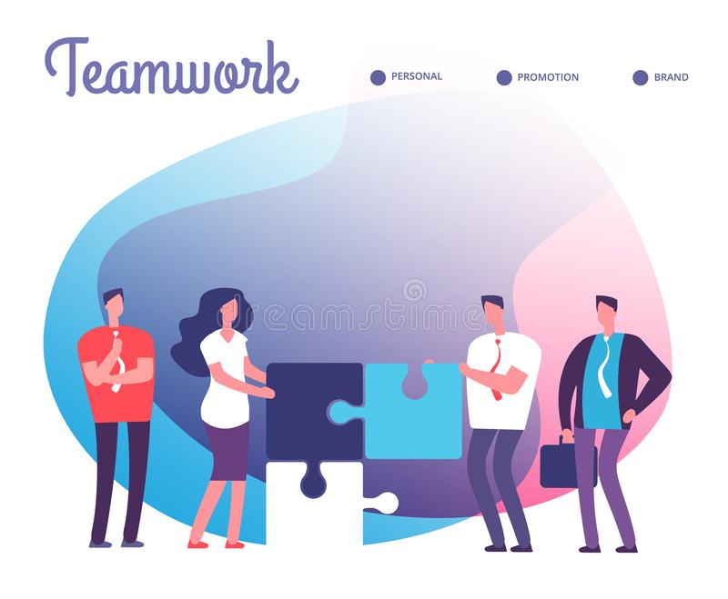 Business people solve puzzle. Development, easy solution and teamwork vector concept with employee characters and puzzle vector illustration