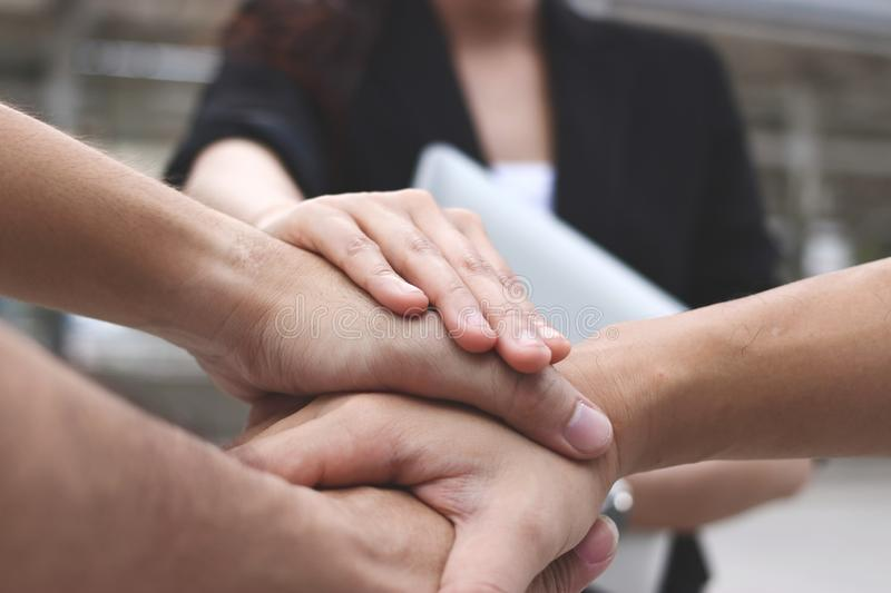 Business people stacking hands together. Successful and teamwork concept.  royalty free stock photos
