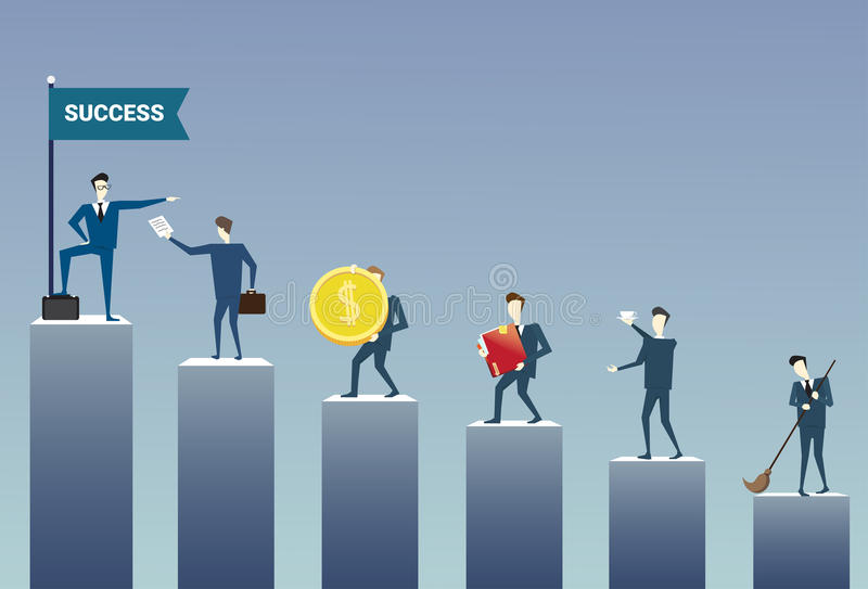 Business People Standing Financial Bar Graph Group Concept Businesspeople Team. Flat Vector Illustration royalty free illustration