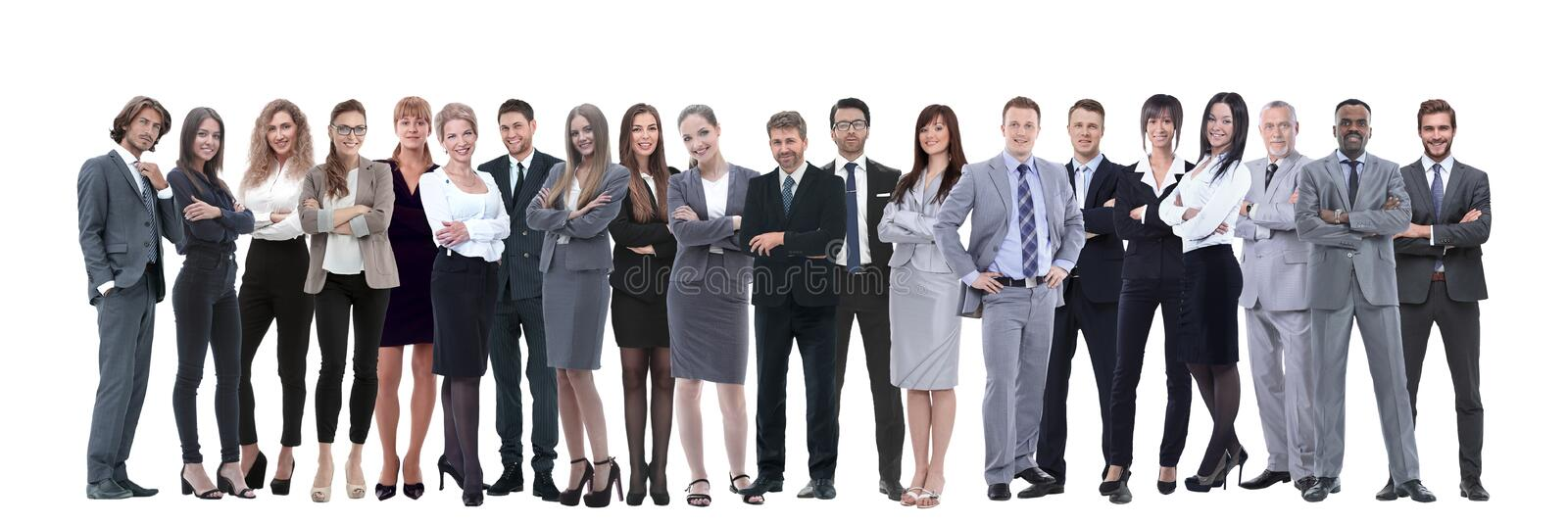 Young attractive business people - the elite business team. Business people standing in row over white background stock photography