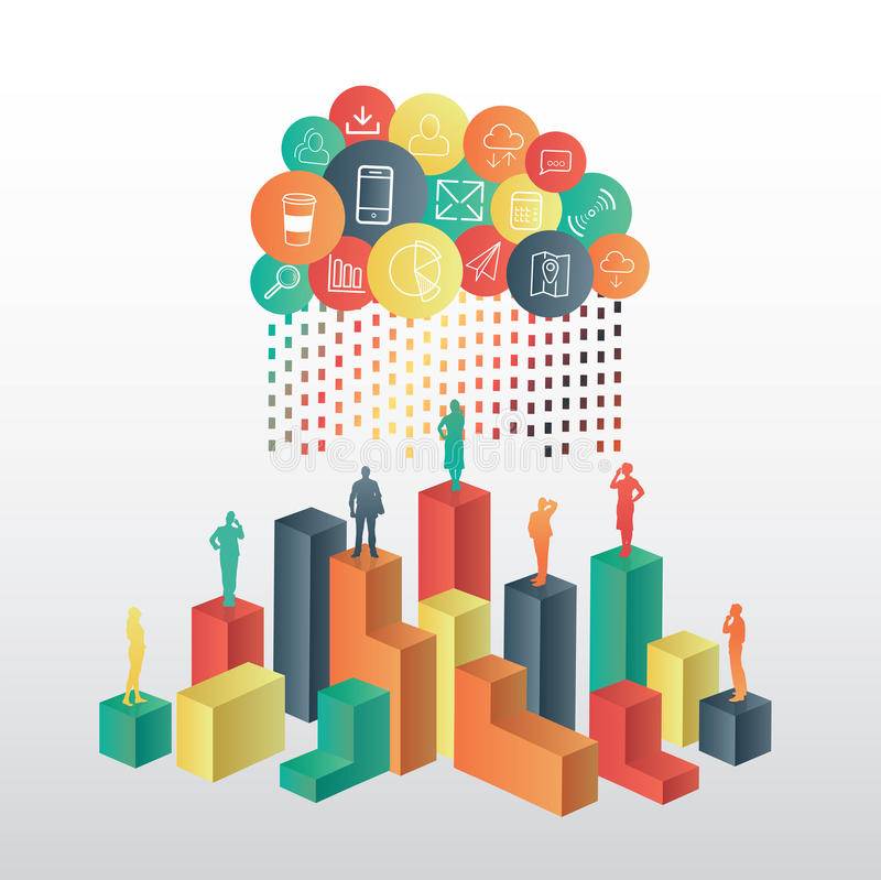 Business people standing on structure under app cloud. On grey background stock illustration