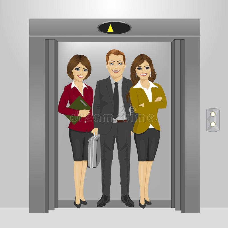 Business people standing together inside office building elevator stock illustration
