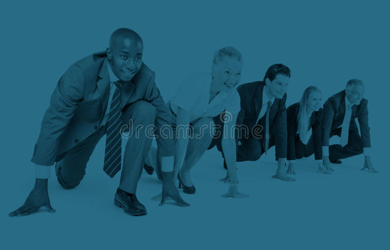 Business People Startup Competition Running Beginning Concept stock photo