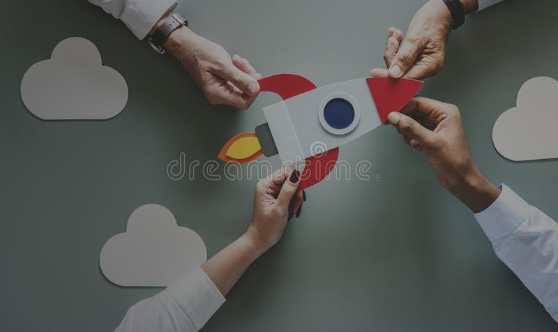 Business people with startup rocket royalty free illustration
