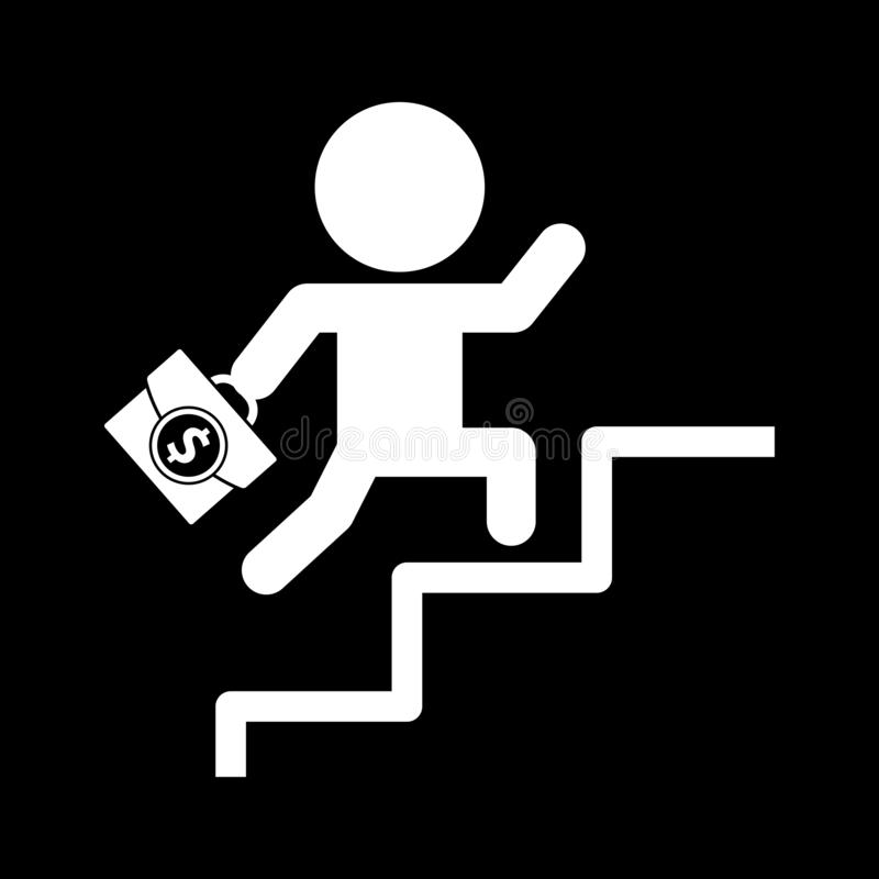 Business people stepping up the ladder for web icons and symbols on a black background. And flat vector illustration