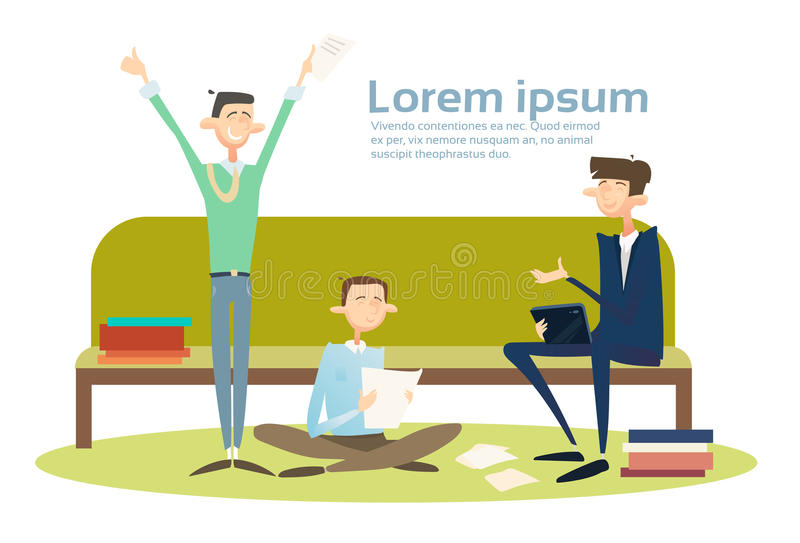Business People Students Group Sitting On Coach Businessman Using Tablet Computer Office. Business People Stidents Group Sitting On Coach Businessman Using royalty free illustration