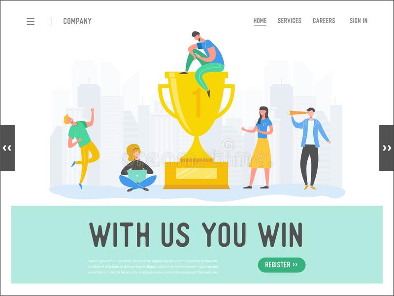 Business people success concept, leadership, achievement landing page template. Businessman character with prize, winning trophy. Successful teamwork for vector illustration