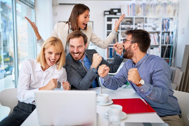 Business people successfully completed and contracted work stock images