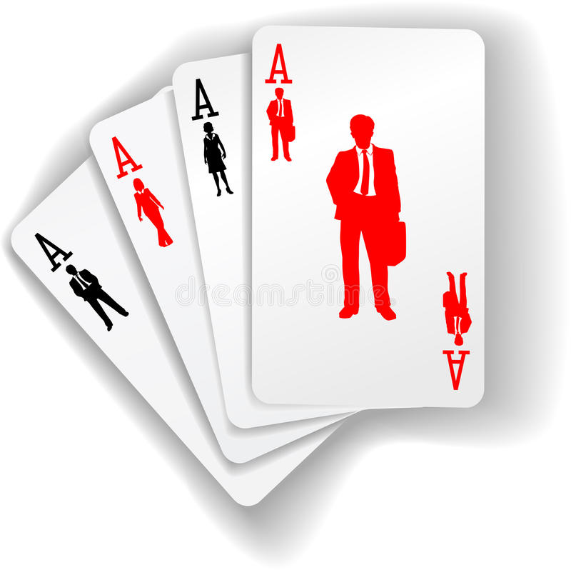 Business People Suits Resources Playing Cards. Suits are the suits on four aces of business human resources people working playing cards royalty free illustration
