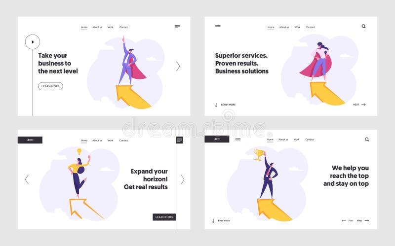 Business People, Superhero Characters on Top of Huge Arrow Site Web Page d'accueil Ensemble, leadership, réussite Concours illustration stock