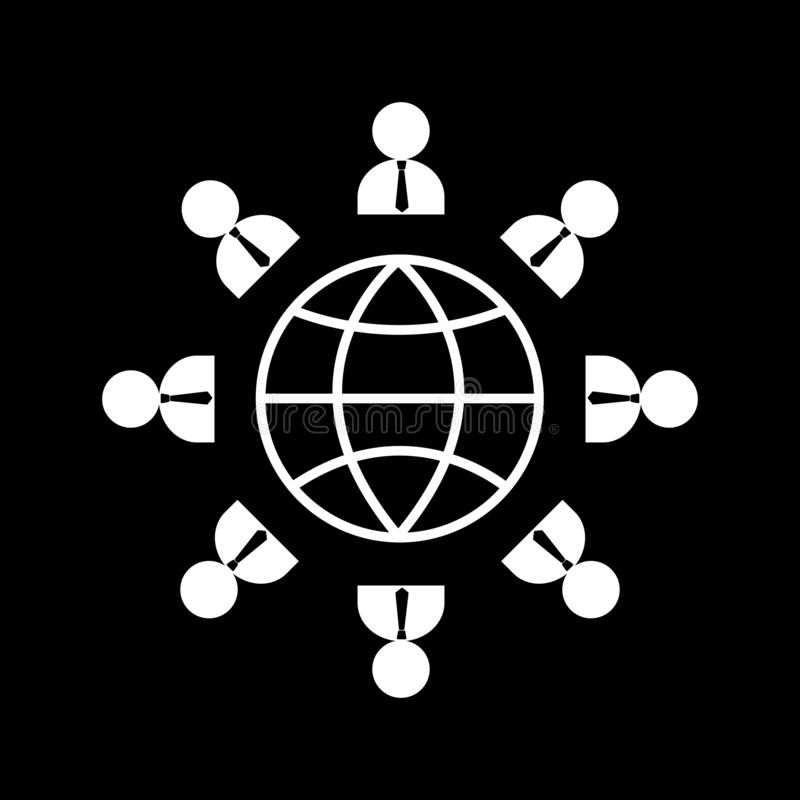 Business people surround the world as a borderless concept for web icons and symbols on a black background. And flat vector illustration